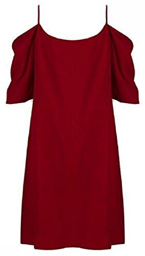 Jaycargogo Sangle De Cocktail Épaule De Spaghetti Des Femmes Une Partie En Ligne De Vin Rouge Robe Patineuse