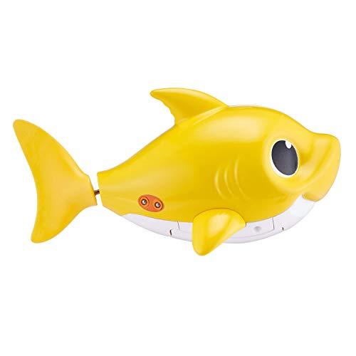 31IwLQnZcoL - Robo Alive Junior Baby Shark Battery-Powered Sing and Swim Bath Toy by ZURU - Baby Shark (Yellow) (Color may vary)