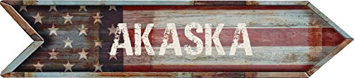 "Any and All Graphics AKASKA 4""x18"" American Flag Rusted Weathered Antique Vintage Look Composite Aluminum Novelty décor Sign."