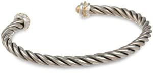 """""""Two-Tone"""" 14k Yellow Gold Plated and Sterling Silver Thin Twisted Bangle Bracelet from Amazon Curated Collection"""