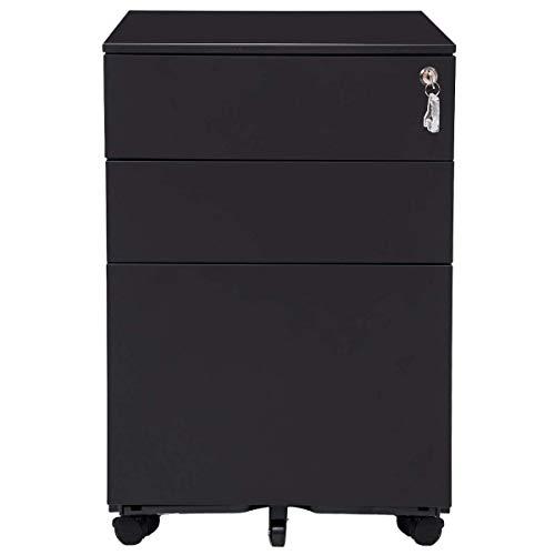 Romatpretty 3 Drawer File Cabinet Mobile Metal Lockable File Cabinet Under Desk Fully Assembled Except for 5 Castors (Black)