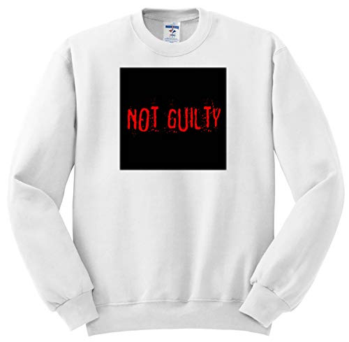 Alexis Design - Typography Funny - Red Text Not Guilty on Black Background. Halloween Horror Theme - Sweatshirts - Adult Sweatshirt Small -
