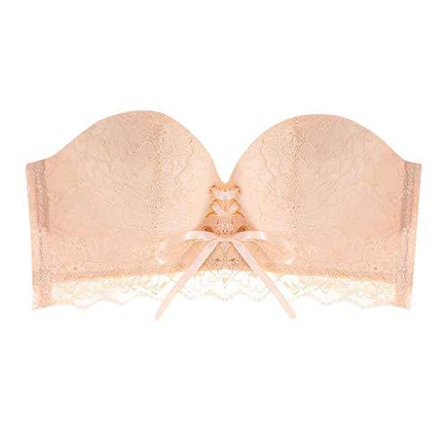 Strapless Underwear, Magic Non-Slip Drawstring lace Bra Strapless Drawstring Tube top(Beige-2,70A)