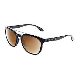 Native Eyewear Sixty-Six Sunglass, Gloss Black, Bronze Reflex