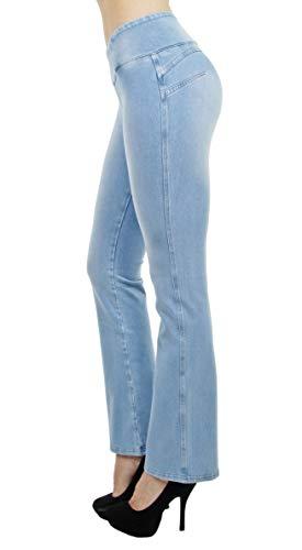 Shaping Pull On Butt Lift Push Up Yoga Pants Stretch Indigo Denim Flare Jeans in Indigo Celeste Size L