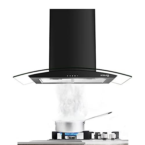 30″ Range Hood, GASLAND Chef GR30BP Glass Wall Mount Range Hood Black, 3 Speed 350 CFM Ducted Kitchen Hood with LED Lights, Push Button Control, Convertible Chimney, Aluminum Filter