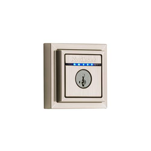 Kwikset 99250-206 Kevo 2nd Gen Contemporary Square Single Cylinder Touch-to-Open Bluetooth Deadbolt, Satin Nickel