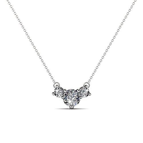 Cate & Chloe Calliope Poetic 3 Stone Pendant Necklace, Women's 18k White Gold Plated Necklace with Swarovski Crystals, Beautiful Sparkling Crystal Stones Silver Drop Necklace for Women, MSRP - $119
