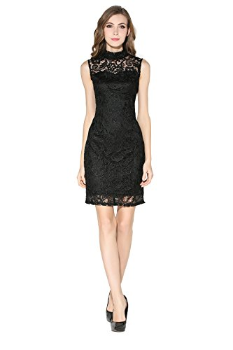 Little Smily Women's Crochet Lace Form Fitting High Neck Cocktail Bodycon Dress, Black, S