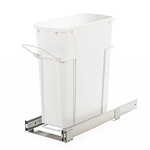 Knape & Vogt SBM9-1-20WH In-Cabinet Bottom Mount Pull Out Trash Can, 17.31