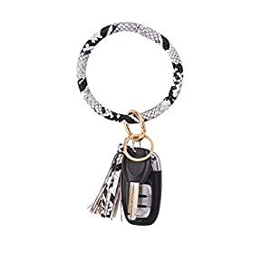 Coolcos Key Ring Bracelets Wristlet Keychain Bangle Keyring – Large Circle Leather Tassel Bracelet Holder For Women Gift