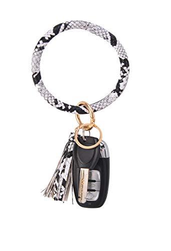 Coolcos Key Ring Bracelets Wristlet Keychain Bangle Keyring - Large Circle Leather Tassel Bracelet Holder For Women Girl(Snakeskin White)