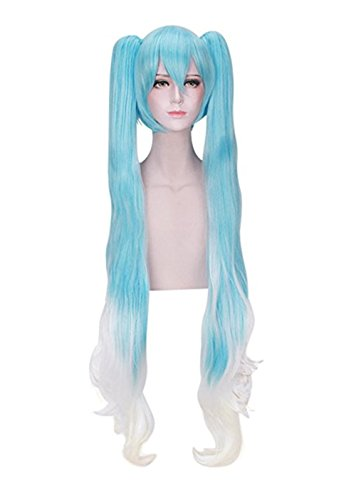 2017 New Anime 120cm Long Straight Light Blue Gradient White Cosplay Wig Clip on Two Ponytails Women Girls' Party Wigs with Free Cap