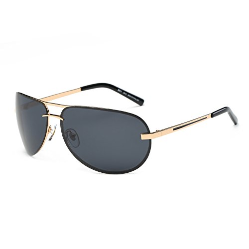 [DONNA Unisex Oversized Polarized Sports Sunglasses with Wrap Around Lens Unbreakable Frame Double Bridge for Golf Motorcycle Fishing Running D61(Black Lens/Gold frame)] (Gold Wrap Around Sunglasses)