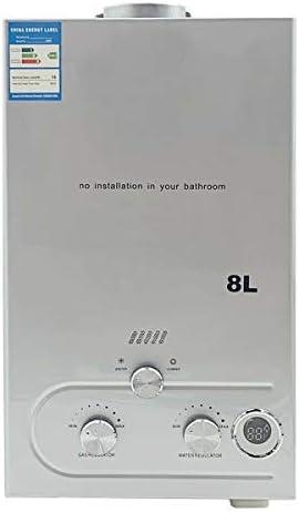 DOMINTY Calentador de agua de gas portátil, 8 L, 16 kW ...