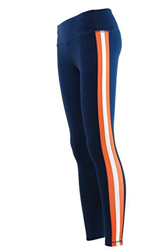 Triple Threat Striped Yoga Pant Leggings Navy/Orange (Medium)]()