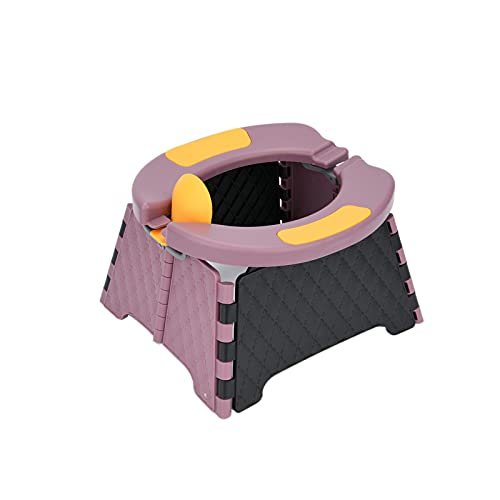 Portable Potty Seat, Reiled Toddler Potty Training Seat, Kids Travel Potty, Foldable Toilet Seat for Indoor and Outdoor Car Camping w/Disposable Bags (Purple)