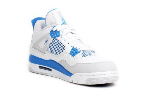 Nike Men's Air Jordan 4 308497 105 White Military Blue Basketball Gym Shoe (Men's 12, White Military Blue)