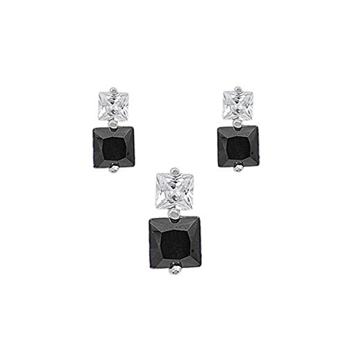Sterling Silver Luxurious Black Simulated Princess Cut Earrings and Pendant Set on Tension -
