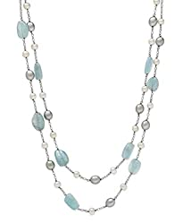 Natural Aquamarine & Cultured Freshwater Pearl Necklace