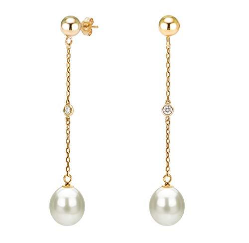 14K Yellow Gold 1/16cttw Diamond Ball White Freshwater Cultured Pearl Stud Dangle Earrings - Ball Diamond Pearl