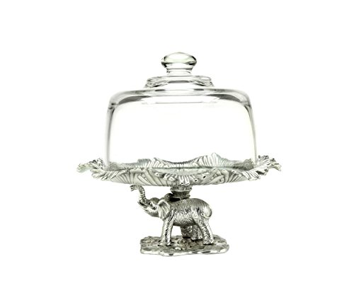 Arthur Court Elephant Footed 8-Inch Plate with Glass Dome