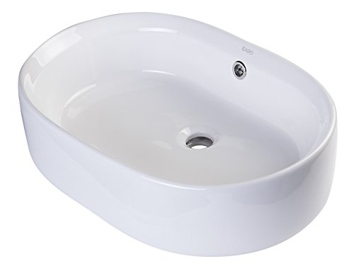EAGO BA132 22-Inch Oval Ceramic Above Mount Basin