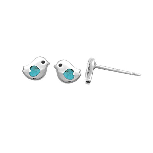 Boma Jewelry Sterling Silver Little Bird Turquoise Heart Stud Earrings