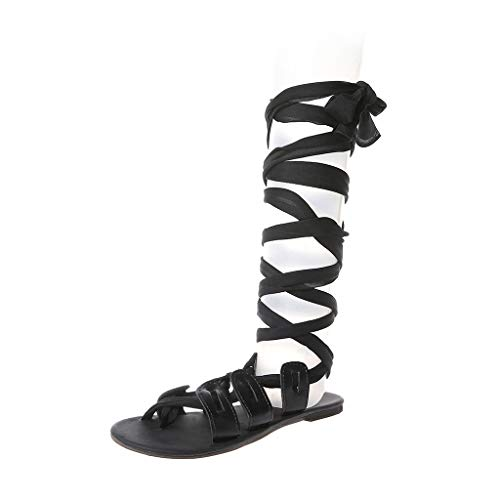 CCFAMILY Women Sandals Thong Bandage Bohemian Beach Shoes Summer Knee High Flat Shoes Black