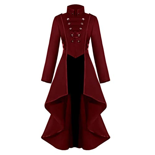 FEDULK Womens Halloween Costume Jacket Gothic Steampunk Button Lace Corset Coat Tailcoat Outwear(Red, Medium) -