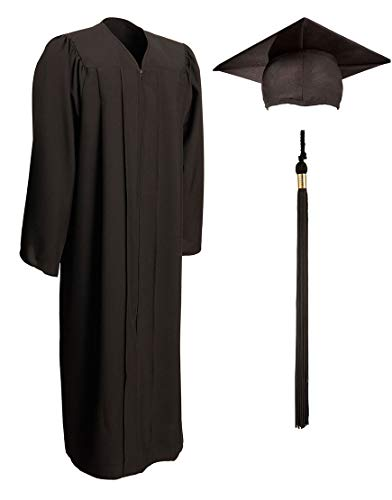 Matte Graduation Gown, Cap and Tassel Set - Unisex Adult And Teen Graduation Robe For Middle School, High School, College And University, Black, Size 45 (Height 5.0 to 5.2 inches tall) ()