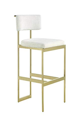 Scott Living 182423 Francesca Upholstered Bar Stool, Beige/Brass