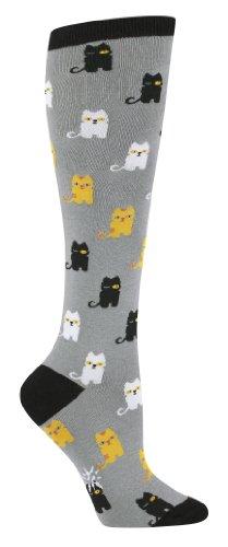Sock It To Me Cats Grey Knee High Sock (Grey)]()