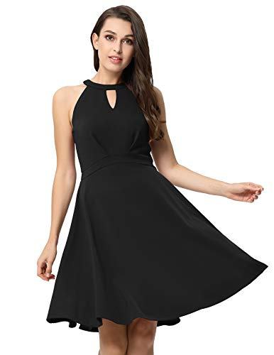 Line Women (Women A Line Fit Flare Sleeveless Dress for Cocktail Prom Party Black XL)