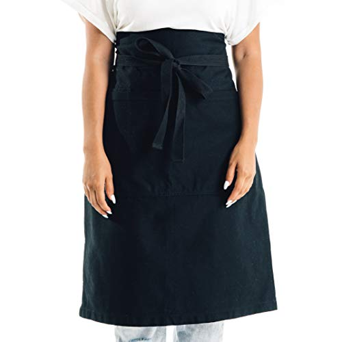 (Caldo Cotton Bistro Apron - 3 Pockets, Tall Length 23 x 27 with 40 Inch Waist Ties - Unisex Uniform for Server, Waiter, Waitress, Coffee Shop, Cafe, Bartender, Catering (Black))