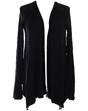 Calvin Klein Black Reversible Graphic-Print Draped Cardigan S