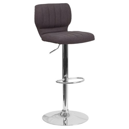 HOME HAVEN LLC Adjustable Height Barstool with Chrome Base, Black Vinyl Upholstery, Vertical Line Design, Swivel Seat, Seat Adjusts from Counter to Bar Height, Footrest + Expert Guide by HOME HAVEN LLC