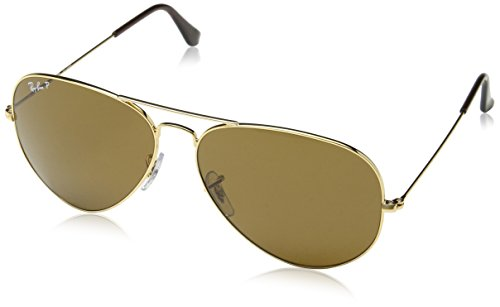 Ray-Ban AVIATOR LARGE METAL - GOLD Frame CRYSTAL BROWN POLARIZED Lenses 62mm - Brown Ban Ray Sunglasses Aviator
