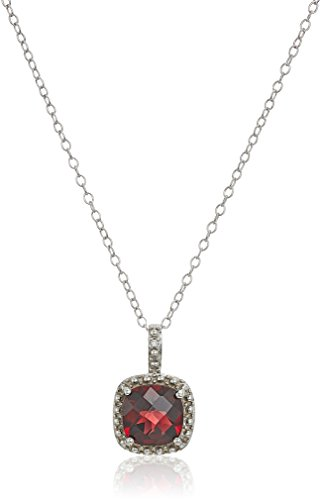 Sterling Silver Cushion Cut Garnet and Diamond Accent Pendant Necklace, 18