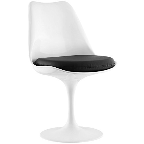 Modway Lippa Mid-Century Modern Faux Leather Cushion, Dining Side Chair, Black (White Chairs Pleather)