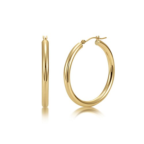 - High Polished 14k Yellow Gold 3mm x 30mm Click Top Tube Hoop Earrings - By Kezef Creations