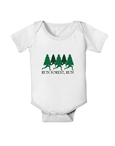 TooLoud Run Forest Run Funny Baby Romper Bodysuit - White - 12 Months]()