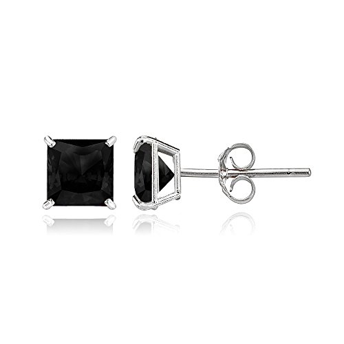 Bria Lou 14k White Gold Ebony Sapphire Gemstone 5mm Square-Cut Solitaire Stud - Ebony Gold