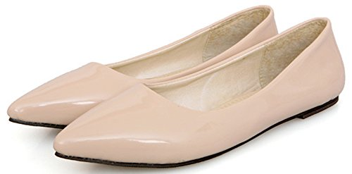 Low Pointed Work IDIFU Apricot Cut Womens on Slip Shoes Flats Toe Dressy Leather Patent nwnZI0AHp