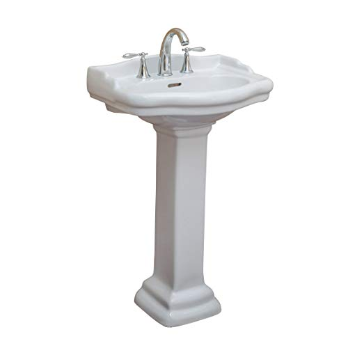 (Fine Fixtures, Roosevelt White Pedestal Sink - 22 Inch Vitreous China Ceramic Material (4 Inch Faucet Spread Hole))