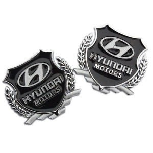 Automaze Hyundai Motors 3d Metal Car Logo Set Of 2 Silver Amazon
