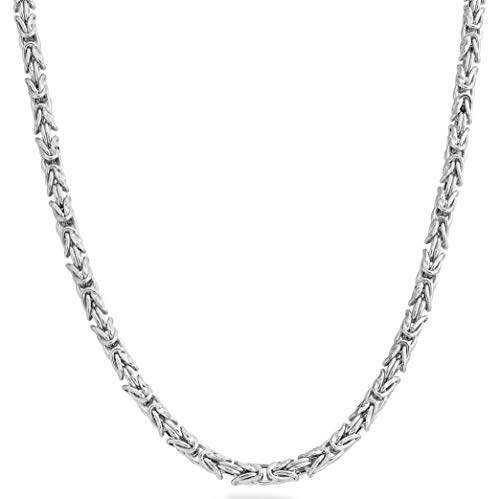 MiaBella 925 Sterling Silver Italian 4.5mm Solid Round Byzantine Link Chain Necklace for Women Men, 18