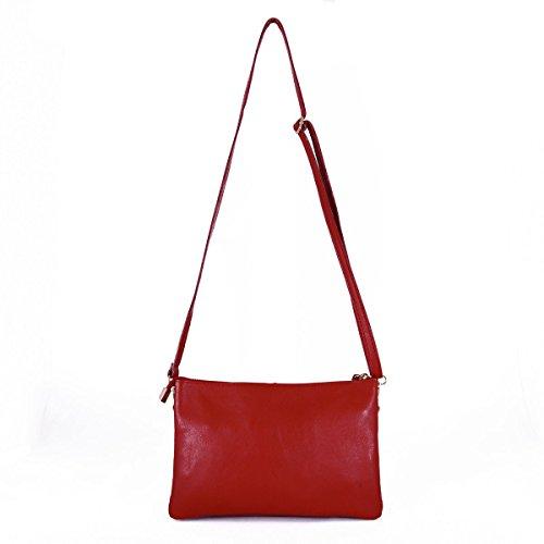 Pochette In Vera Pelle Con 2 Scomparti Colore Rosso - Pelletteria Toscana Made In Italy - Borsa Donna