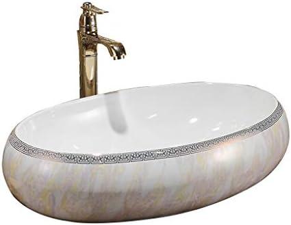 Minmin バスルームの洗面ホーム小さなアパートシンプルなセラミックテーブル楕円形のバスルーム、洗面台バルコニー洗濯プールバスルーム洗面600x400x150mm 芸術流域 (Size : 600x400x150mm)