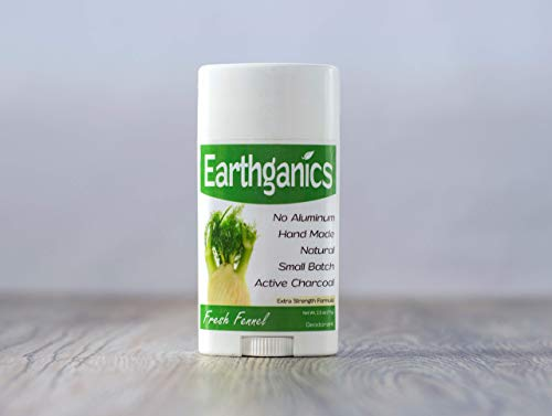 Earthganics Fresh Fennel - Extra Strength with Active Charcoal and Magnesium 100% All Natural Deodorant - 2.5oz